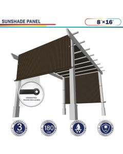 Windscreen4less Brown 8ft. W x 16ft. H Outdoor Sun Shade Panel Universal Pergola Replacement Cover Canopy with Grommets Weight Rods Sun Block Cover for Patio Backyard 180GSM (3 Year Warranty)-Custom Sizes Available