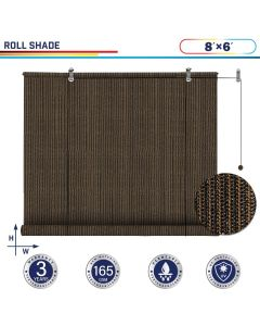 Windscreen4less Exterior Roller Shade Blinds Outdoor Roll Up Shade with 90% UV Protection Privacy for Deck Backyard Gazebo Pergola Balcony Patio Porch Carport 8ft W x 6ft H Brown 165GSM (3 Year Warranty)-Custom Sizes Available