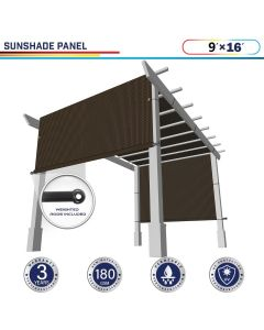 Windscreen4less Brown 9ft. W x 16ft. H Outdoor Sun Shade Panel Universal Pergola Replacement Cover Canopy with Grommets Weight Rods Sun Block Cover for Patio Backyard 180GSM (3 Year Warranty)-Custom Sizes Available