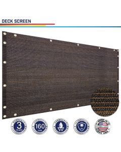 Windscreen4less Custom Size 3-3ft x 1-320ft Heavy Duty Privacy Deck Screen in Color Brown with Brass Grommet 90% Blockage Windscreen Outdoor Mesh Fencing Cover Netting 160GSM Fabric w/3-Year Warranty