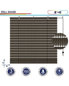 Windscreen4less Exterior Roller Shade Blinds Outdoor Roll Up Shade with 90% UV Protection Privacy for Deck Backyard Gazebo Pergola Balcony Patio Porch Carport 8ft W x 6ft H Brown Hollow 165GSM (3 Year Warranty)-Custom Sizes Available