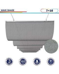 Windscreen4less Retractable Canopy Replacement Cover for Pergola Slide On Wire Shade Cover Awning for Gazebo Trellis Hot Tub Top Cover Patio Deck Yard Porch Wave Shade 90% UV Blocka 7ft W x 16ft L Light Gray 165GSM (3 Year Warranty)-Custom Sizes Available
