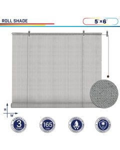 Windscreen4less Exterior Roller Shade Blinds Outdoor Roll Up Shade with 90% UV Protection Privacy for Deck Backyard Gazebo Pergola Balcony Patio Porch Carport 5ft W x 6ft H Light Gray 165GSM (3 Year Warranty)-Custom Sizes Available