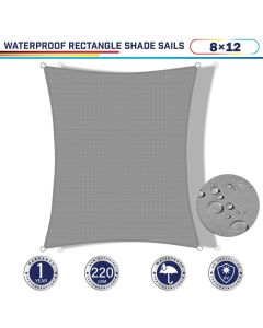 Windscreen4less Terylene Waterproof 8ft x 12ft Rectangle Curve Edge Sun Shade Sail Canopy in Color Light Gray for Outdoor Patio Backyard UV Block Awning with Steel D-Rings 220GSM (1 Year Warranty)
