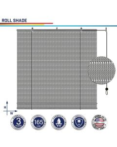 Windscreen4less Custom Exterior Roller Shade Blinds Outdoor Roll Up Shade with 90% UV Protection Privacy for Deck Backyard Gazebo Pergola Balcony Patio Porch Carport 4-8ft W x 5-15ft H Gray Hollow 165GSM (3 Year Warranty)