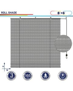 Windscreen4less Exterior Roller Shade Blinds Outdoor Roll Up Shade with 90% UV Protection Privacy for Deck Backyard Gazebo Pergola Balcony Patio Porch Carport 8ft W x 6ft H Gray Hollow 165GSM (3 Year Warranty)-Custom Sizes Available