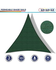 Windscreen4less 12ft x 12ft x 12ft Triangle Curve Edge Sun Shade Sail Canopy in Color Dark Green for Outdoor Patio Backyard UV Block Awning with Steel D-Rings 180GSM (3 Year Warranty) - Customized Sizes Available(Customized)
