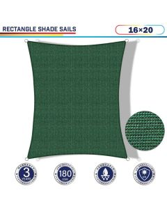 Windscreen4less 16ft x 20ft Rectangle Curve Edge Sun Shade Sail Canopy in Color Dark Green for Outdoor Patio Backyard UV Block Awning with Steel D-Rings 180GSM (3 Year Warranty) - Customized Sizes Available