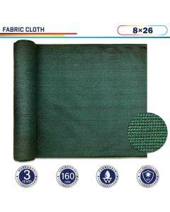 Windscreen4less Dark Green Sunblock Shade Cloth, 90% UV Block 8ft x 26ft 160GSM Shade Fabric Roll (3 Year Warranty)-Custom Sizes Available