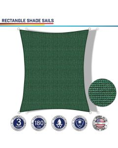 Windscreen4less Custom Size 2-24ft x 2-24ft Rectangle Curve Edge Sun Shade Sail Canopy in Color Dark Green for Outdoor Patio Backyard UV Block Awning with Steel D-Rings  (3 Year Warranty)
