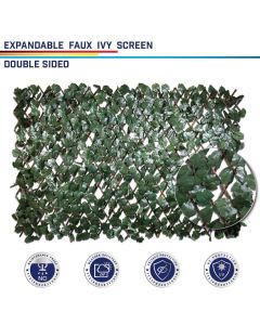 Windscreen4less Artificial Leaf Faux Ivy Expandable/Stretchable Privacy Fence Screen Double Sides Leaves 2pcs