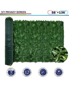 "Windscreen4less Artificial Faux Ivy Leaf Decorative Fence Screen 58"" x 136"" Ivy Leaf Decorative Fence Screen"