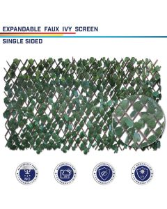 Windscreen4less Artificial Leaf Faux Ivy Expandable/Stretchable Privacy Fence Screen Single Side Leaves 2pcs
