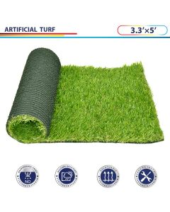 Windscreen4less 3.3' x 5' Artificial Grass Turf Realistic Fake Grass Turf Synthetic Pet Turf, Outdoor/Indoor Fake Grass Rug Astroturf for Dogs with Drainage Holes, Pile Height:35mm - Custom Sizes Available
