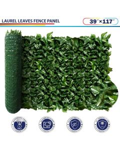 """Windscreen4less Artificial Faux Ivy Leaf Decorative Fence Screen 39"""" x 117"""" Green Faux Laurel Leaves Fence Panel"""