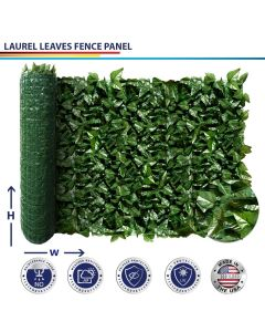 Windscreen4less Custom Size 3-6ft H x 20-60ft L Artificial Faux Ivy Leaf Decorative Fence Screen Green Faux Laurel Leaves Fence Panel