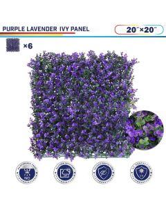 "Windscreen4less Artificial Faux Ivy Leaf Decorative Fence Screen 20"" x 20"" Purple Lavender 6pcs"