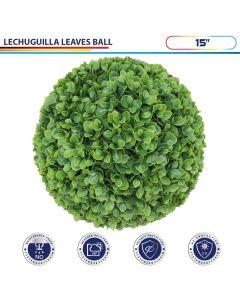15 Inch Artificial Topiary Ball Faux Boxwood Plant for Indoor/Outdoor Garden Wedding Decor Home Decoration, Lechuguilla Green 1 Piece
