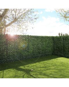 """Real Scene Effect of Windscreen4less Artificial Faux Ivy Leaf Decorative Fence Screen 39"""" x 117"""" Green Faux Laurel Leaves Fence Panel"""