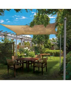 Real Scene Effect of Windscreen4less Outdoor Sun Shade Sail Post Pole Kit for Grass Backyard Garden Soil Street Sign Pole with Clamp Powder Coated- 140'' 1 Set