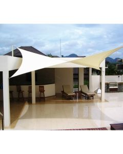 Real Scene Effect of Windscreen4less 12ft x 12ft Rectangle Curve Edge Sun Shade Sail Canopy in Color Beige for Outdoor Patio Backyard UV Block Awning with Steel D-Rings 180GSM (3 Year Warranty) - Customized Sizes Available
