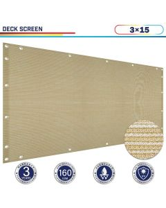Windscreen4less 3ft x 15ft Heavy Duty Privacy Deck Screen in Color Beige with Brass Grommet 90% Blockage Windscreen Outdoor Mesh Fencing Cover Netting 160GSM Fabric (3 Year Warranty)-Custom Sizes Available(Customized)
