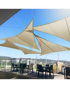 Real Scene Effect of Windscreen4less Custom Size 5-24ft x 5-24ft x 5-34ft Triangle Straight Edge Sun Shade Sail Canopy in Color Beige for Outdoor Patio Backyard UV Block Awning with Steel D-Rings 180GSM (3 Year Warranty)