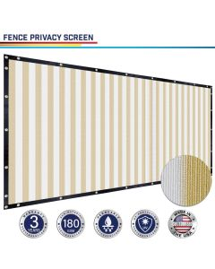 Windscreen4less Custom Size 1-16ft x 1-300ft Heavy Duty Privacy Fence Screen in Color Beige with White Strips with Brass Grommet 90% Blockage Windscreen Outdoor Mesh Fencing Cover Netting 180GSM Fabric w/3-Year Warranty