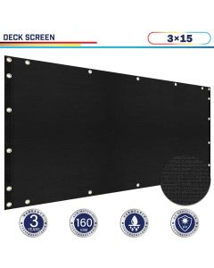 Windscreen4less 3ft x 15ft Heavy Duty Privacy Deck Screen in Color Black with Brass Grommet 90% Blockage Windscreen Outdoor Mesh Fencing Cover Netting 160GSM Fabric (3 Year Warranty)-Custom Sizes Available(Customized)