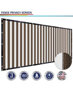 Windscreen4less Custom Size 1-16ft x 1-300ft Heavy Duty Privacy Fence Screen in Color Brown with White Strips with Brass Grommet 90% Blockage Windscreen Outdoor Mesh Fencing Cover Netting 180GSM Fabric w/3-Year Warranty