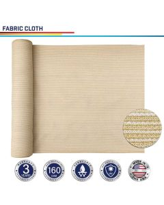 Windscreen4less Custom Size 6-24ft x 1-300ft Sunblock Shade Cloth, 90% UV Block Beige 160GSM Shade Fabric Roll (3 Year Warranty)