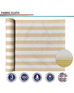 Windscreen4less Custom Size 24-24ft x 1-300ft Sunblock Shade Cloth, 90% UV Block Beige with White Strips 160GSM Shade Fabric Roll (3 Year Warranty)
