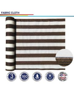 Windscreen4less Custom Size 16-24ft x 1-300ft Sunblock Shade Cloth, 90% UV Block Brown with White Strips 160GSM Shade Fabric Roll (3 Year Warranty)