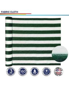 Windscreen4less Custom Size 16-24ft x 1-300ft Sunblock Shade Cloth, 90% UV Block Green with White Strips 160GSM Shade Fabric Roll (3 Year Warranty)
