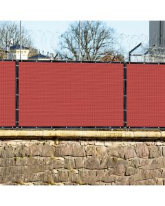 Real Scene Effect of Windscreen4less Custom Size 1-16ft x 1-300ft Heavy Duty Privacy Fence Screen in Color Red with Brass Grommet 90% Blockage Windscreen Outdoor Mesh Fencing Cover Netting 180GSM Fabric w/3-Year Warranty