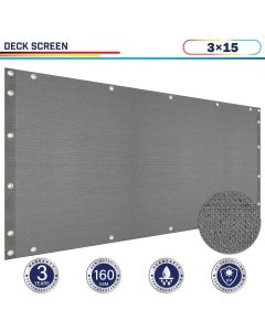 Windscreen4less 3ft x 15ft Heavy Duty Privacy Deck Screen in Color Gray with Brass Grommet 90% Blockage Windscreen Outdoor Mesh Fencing Cover Netting 160GSM Fabric (3 Year Warranty)-Custom Sizes Available