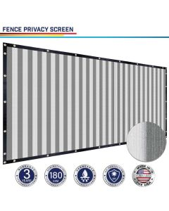 Windscreen4less Custom Size 1-16ft x 1-300ft Heavy Duty Privacy Fence Screen in Color Gray with White Strips with Brass Grommet 90% Blockage Windscreen Outdoor Mesh Fencing Cover Netting 180GSM Fabric w/3-Year Warranty