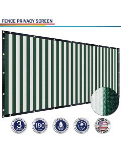 Windscreen4less Custom Size 1-16ft x 1-300ft Heavy Duty Privacy Fence Screen in Color Green with White Strips with Brass Grommet 90% Blockage Windscreen Outdoor Mesh Fencing Cover Netting 180GSM Fabric w/3-Year Warranty