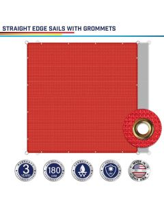 Windscreen4less Custom Size 2-24ft x 2-40ft Rectangle Straight Edge Sun Shade Sail Canopy With Grommets in Color Red for Outdoor Patio Backyard UV Block Awning with Steel D-Rings 180GSM (3 Year Warranty)
