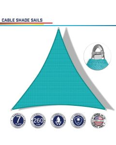 Windscreen4less Steel Wired Turquoise Green Custom Size Triangle 2-48ft x 2-48ft x 2-68ft A-Ring Reinforcement Heavy Duty Strengthen Durable(260GSM)-Galvanized Cable Enhanced Large Sun Shade Sail - 7 Year Warranty