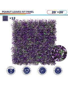 "Windscreen4less Artificial Faux Ivy Leaf Decorative Fence Screen 20"" x 20"" Purple Peanut Leaves 12pcs"