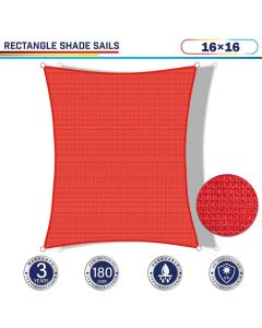 Windscreen4less 16ft x 16ft Rectangle Curve Edge Sun Shade Sail Canopy in Color Red for Outdoor Patio Backyard UV Block Awning with Steel D-Rings 180GSM (3 Year Warranty) - Customized Sizes Available