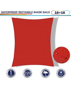 Windscreen4less Terylene Waterproof 16ft x 16ft Rectangle Curve Edge Sun Shade Sail Canopy in Color Red for Outdoor Patio Backyard UV Block Awning with Steel D-Rings 220GSM (1 Year Warranty)