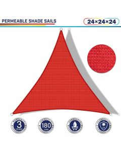 Windscreen4less 24ft x 24ft x 24ft Triangle Curve Edge Sun Shade Sail Canopy in Color Red for Outdoor Patio Backyard UV Block Awning with Steel D-Rings 180GSM (3 Year Warranty) - Customized Sizes Available(Customized)