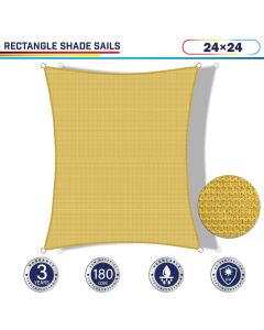 Windscreen4less 24ft x 24ft Rectangle Curve Edge Sun Shade Sail Canopy in Color Sand for Outdoor Patio Backyard UV Block Awning with Steel D-Rings 180GSM (3 Year Warranty) - Customized Sizes Available