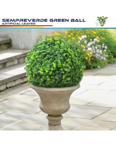 Real Scene Effect of 11-inch-artificial-topiary-ball-faux-boxwood-plant-for-indoor-outdoor-garden-wedding-decor-home-decoration-sempreverde-green-3-pieces