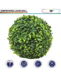 15 Inch Artificial Topiary Ball Faux Boxwood Plant for Indoor/Outdoor Garden Wedding Decor Home Decoration, Sempreverde Green 1 Piece