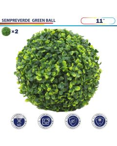 11 Inch Artificial Topiary Ball Faux Boxwood Plant for Indoor/Outdoor Garden Wedding Decor Home Decoration, Sempreverde Green 2 Pieces