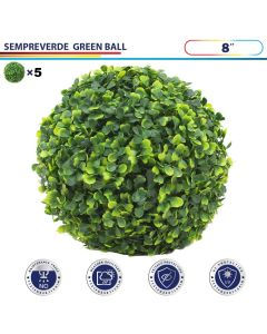 8 Inch Artificial Topiary Ball Faux Boxwood Plant for Indoor/Outdoor Garden Wedding Decor Home Decoration, Sempreverde Green 5 Pieces