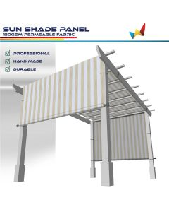 Windscreen4less custom size Beige and White Stripes 3-16ft. W x 4-40ft. H Outdoor Sun Shade Panel Universal Pergola Replacement Cover Canopy with Grommets Weight Rods Sun Block Cover for Patio Backyard 180GSM (3 Year Warranty)